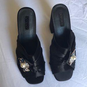 Topshop Jeweled Black Satin Heels
